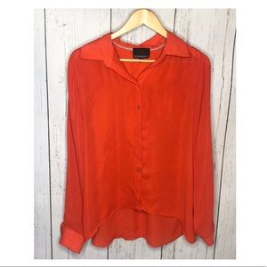 Cynthia Rowley Orange Button Down Blouse